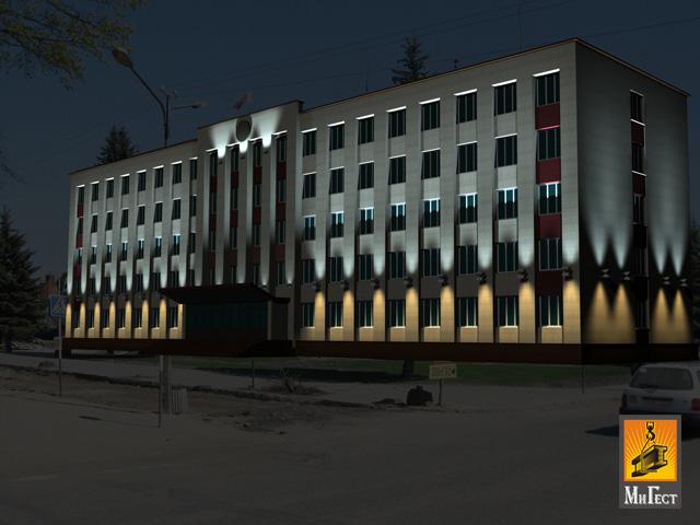 Архитектурная подсветка зданий пример