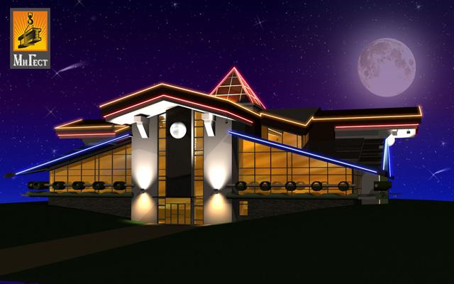 светодиодная подсветка зданий ночью